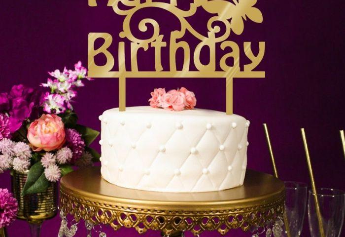 2019 Wholesale Acrylic Happy Birthday Cake Topper Mirror Gold Cake