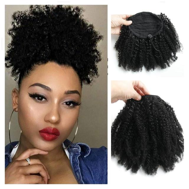 natural ponytail hairpieces 120g african american afro short kinky curly drawstring ponytail high human hair extensions with clips