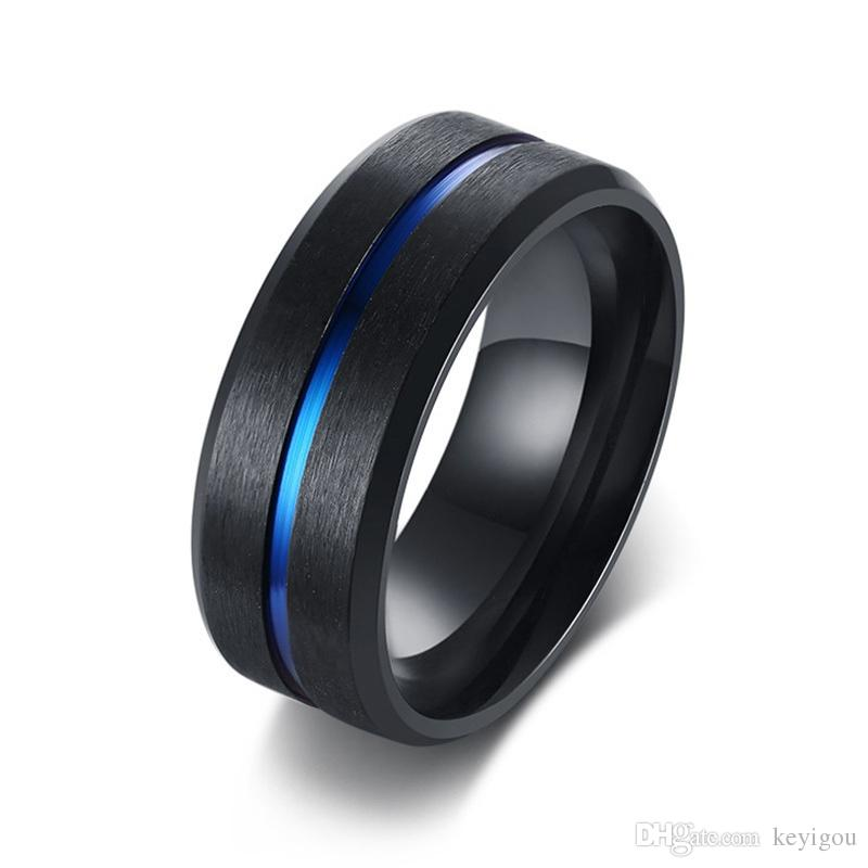 8mm casual black men ring blue line stainless steel male wedding band comfort wear gentlemen jewelry princess cut diamond rings 2 carat diamond ring from