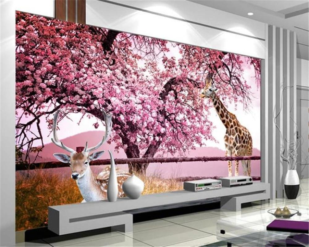 3d Wallpaper Living Room Fantasy Cherry Blossom Smart Fawn 3d Tv Background Wall Customize Your Favorite Romantic Wallpaper From Yunlin188 28 15 Dhgate Com