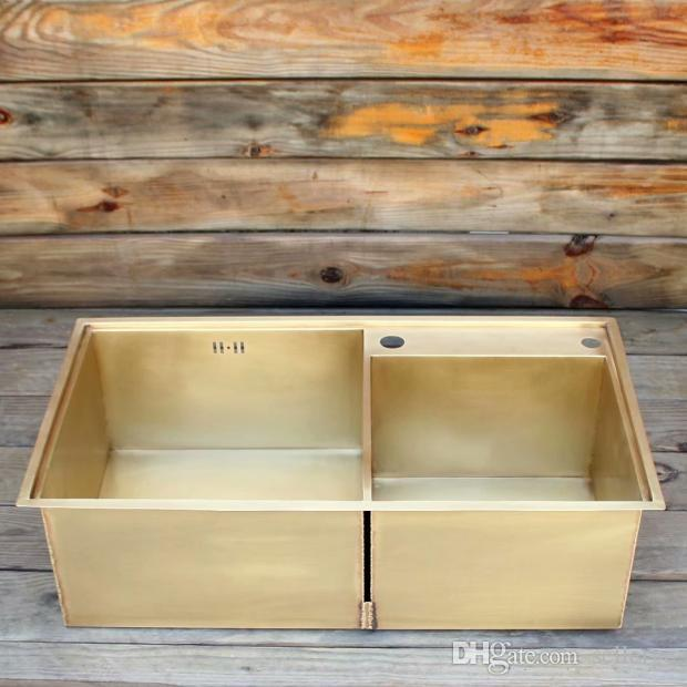 2021 smooth surface brass kitchen sink