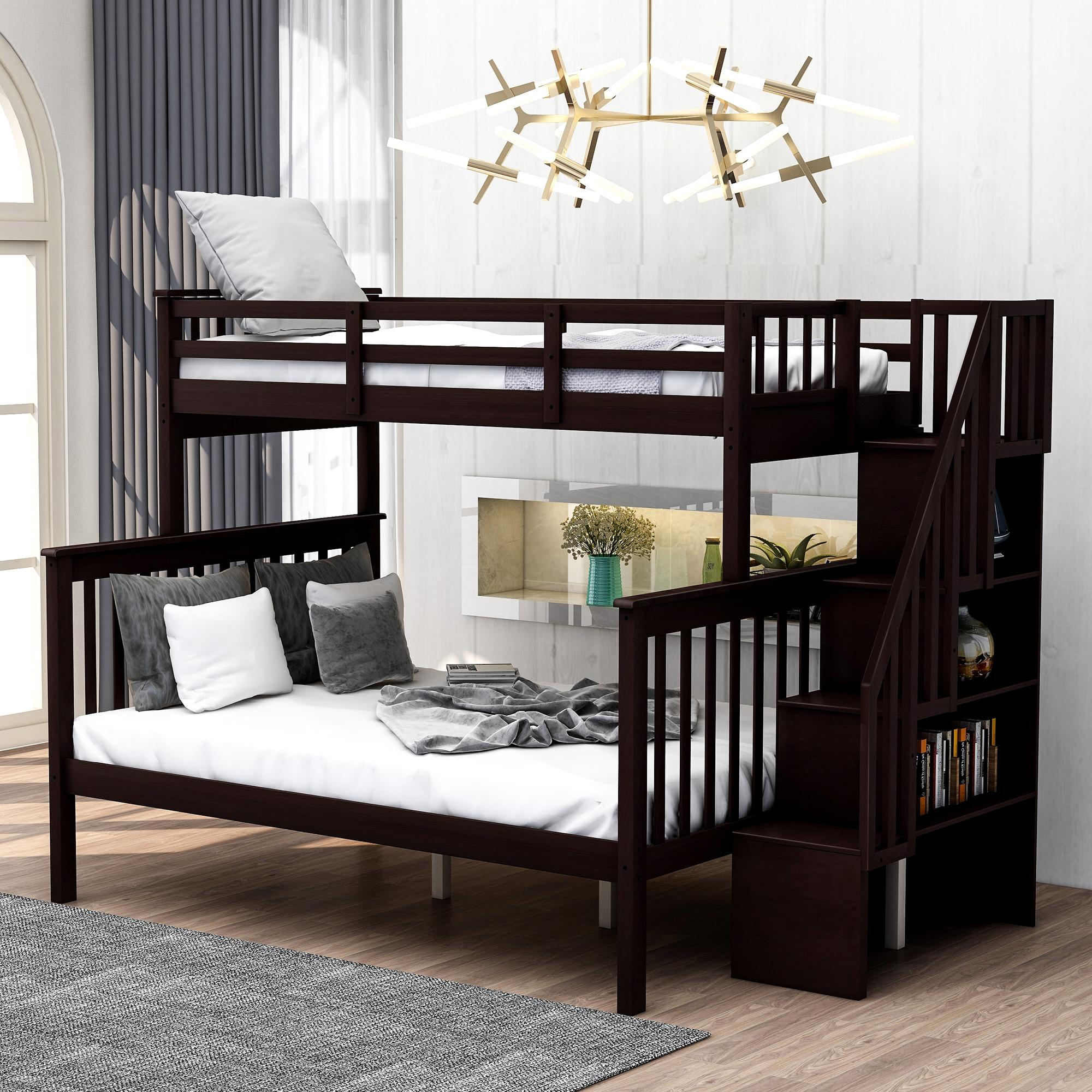 2020 Stairway Twin Over Full Bunk Bed With Storage And Guard Rail For Bedroom Dorm For Kids Adults Espresso Color Lp000019aap From Enjoyweddinglife 728 87 Dhgate Com