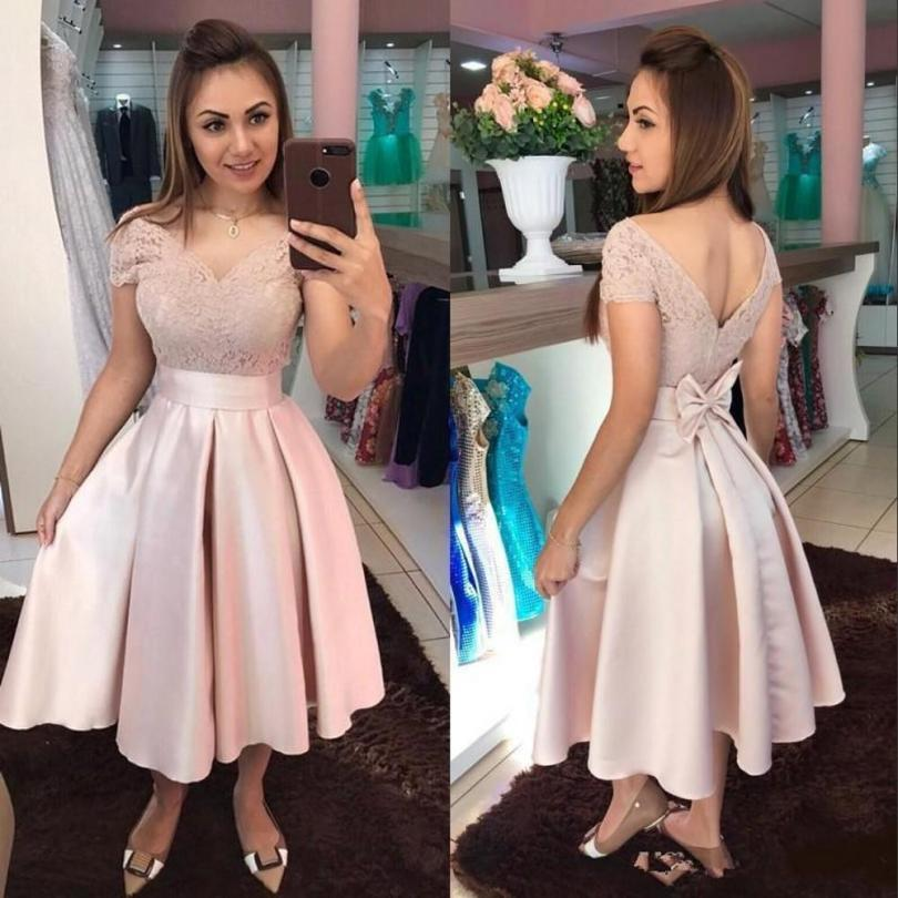 2021 New Short Blush Pink Homecoming Dresses Off Shoulder Lace Appliques Satin Bow Tea Length Ball Gown Arabic Prom Party Cocktail Gowns Pretty Dresses Women Dresses From Crystalxubridal, $96.38Com