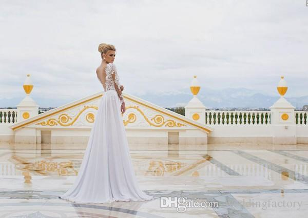 2019 Sexy Beach Wedding Dresses Sheer Lace Appliqued Long