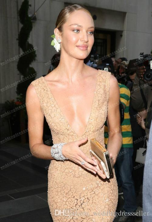 2015 Met Ball Gala Candice Swanepoel Sexy V Neck Gold Lace