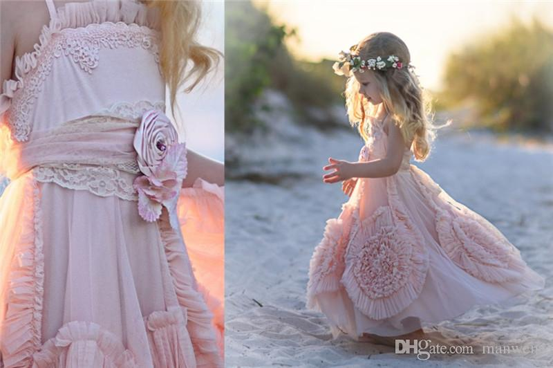 Cheap Pink Flower Girls' Dresses For Wedding 2019 Lace