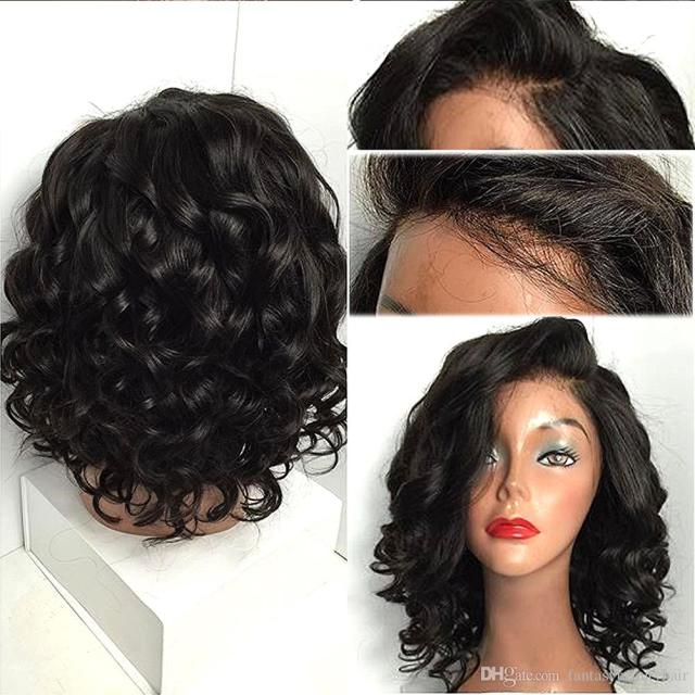 short curly brazilian hair full lace human hair wigs 130%density for black women natural color ponytail 14inch
