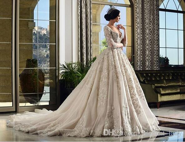 3D Floral Applique Ball Gown Wedding Dresses With Long