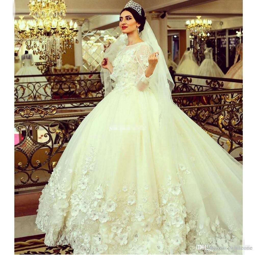 Gorgeous Long Sleeve Ball Gown Wedding Dresses Long Train