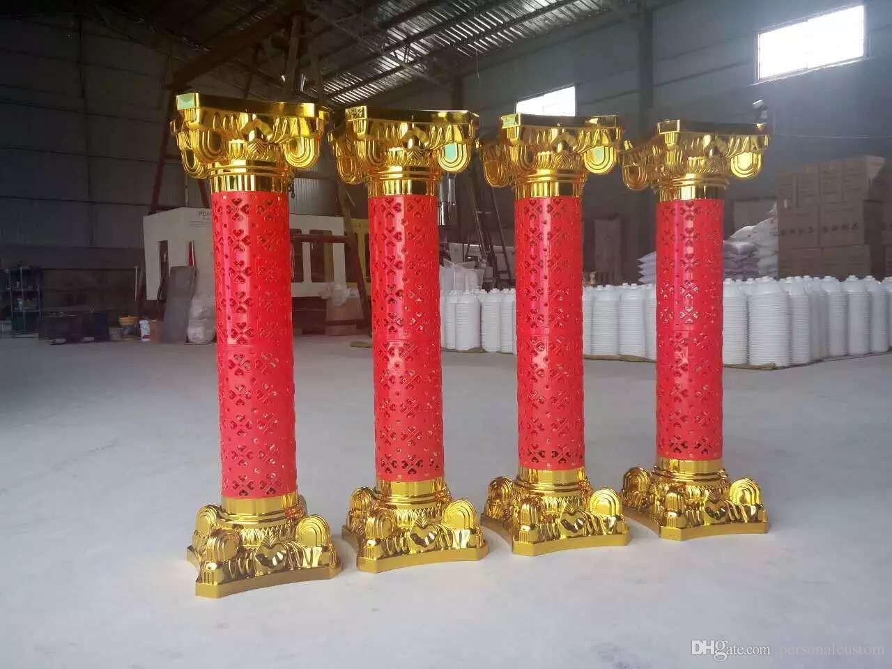 Red Gold Plastic Roman Columns Road Cited Ceremony Wedding