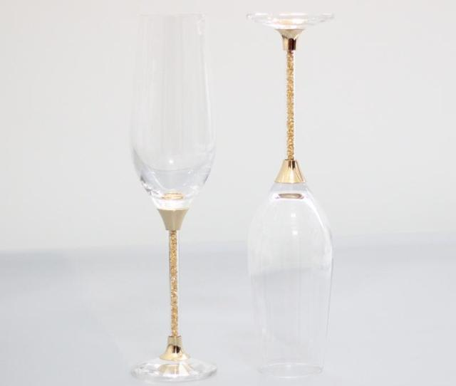 2017 Cheap Lead Free Crystal Toasting Wine Glasses Set Gold Stemware Champagne Flutes Home And Bar