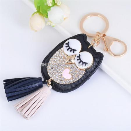 Fashion Accessories Cute Animals Owl Bling Bling Rhinestone Tassels         Fashion Accessories Cute Animals Owl Bling Bling Rhinestone Tassels  Pendant Rose Gold Plated Metal Keychain Keyring