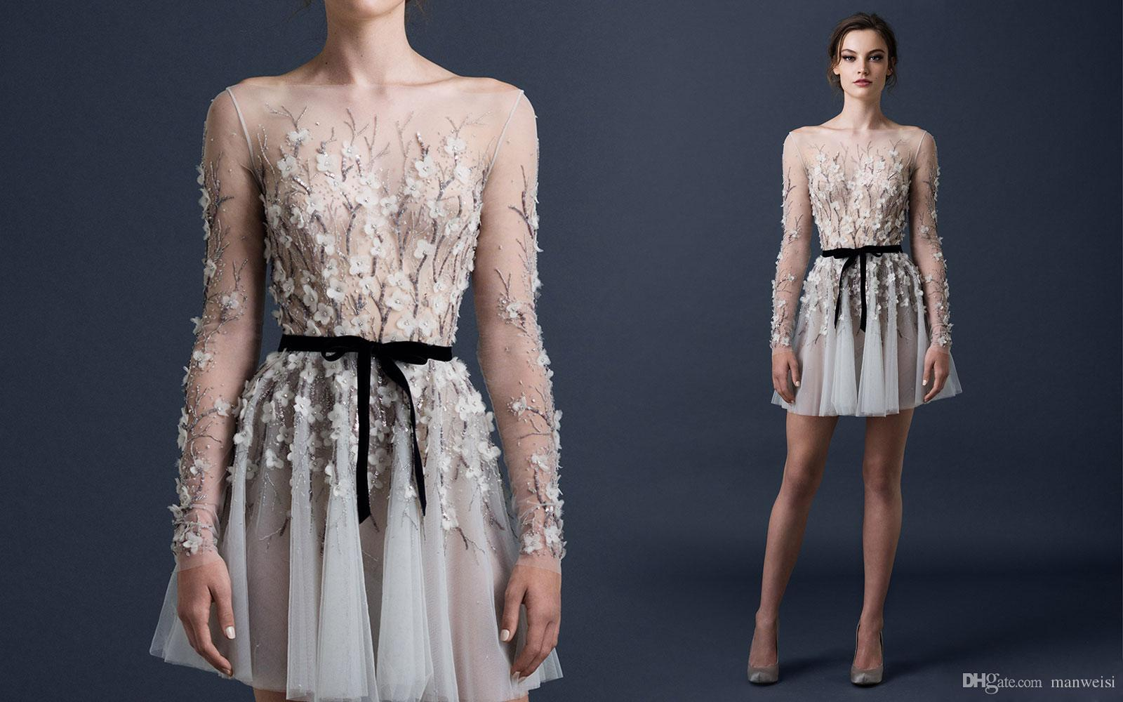 Paolo Sebastian 2019 Sexy Cocktail Dresses Long Sleeve 3D