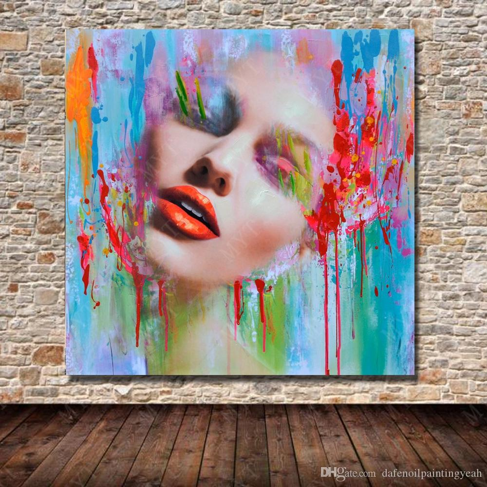 2019 New Design Women Face Oil Painting Home Decor Wall