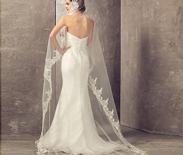 Meters Long Cheapest Chapel Length White Ivory Bridal Veil Lace Appliques Veu De