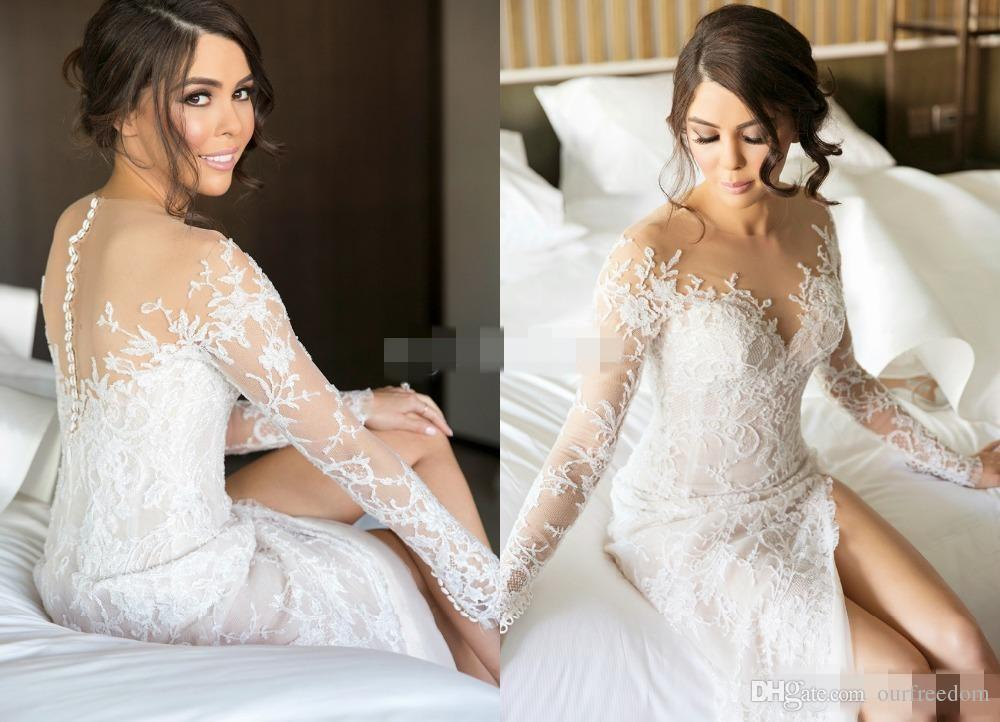 Discount 2019 New Split Lace Steven Khalil Wedding Dresses