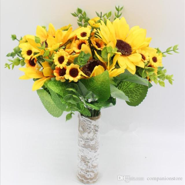 Fresh Yellow Sunflower bouquet Bridal artificial flowers suppliers fleur artificielle bouquet de mariage bride bouquet