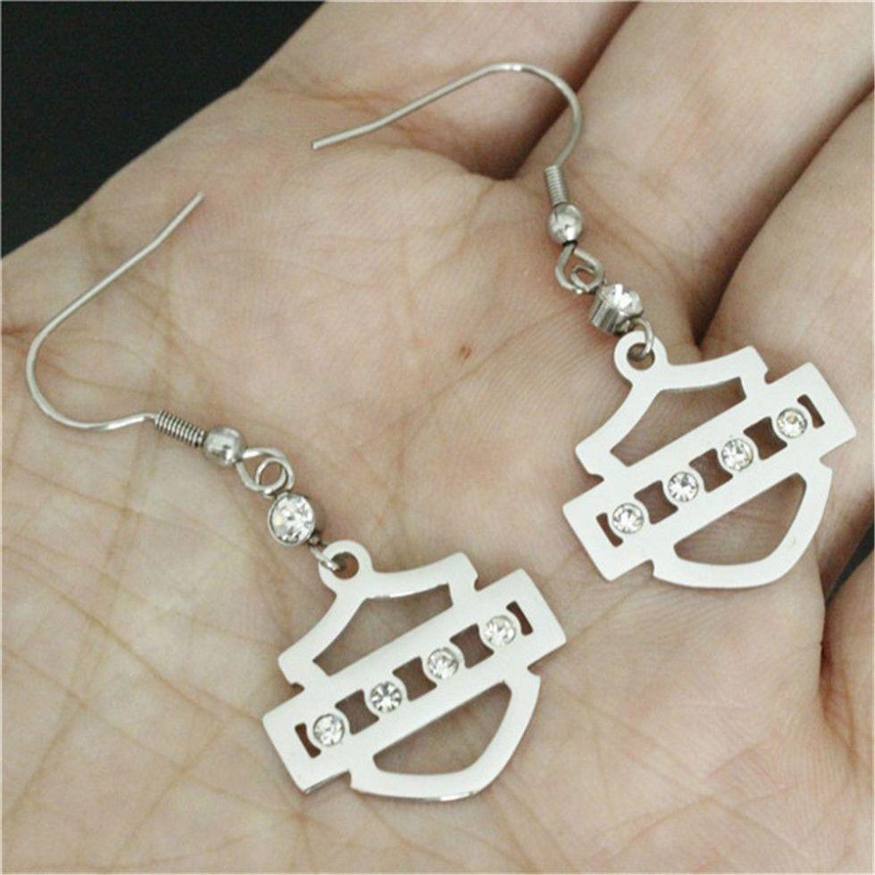 wholesale new clean crystal biker style unisex earrings 316l stainless steel fashion jewelry motorbiker earrings