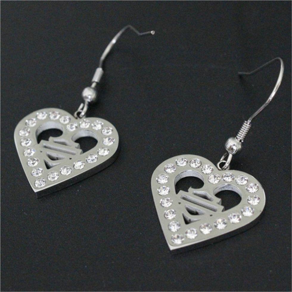 wholesale new clean crystal biker style unisex earrings 316l stainless steel fashion jewelry motorbiker love heart earrings