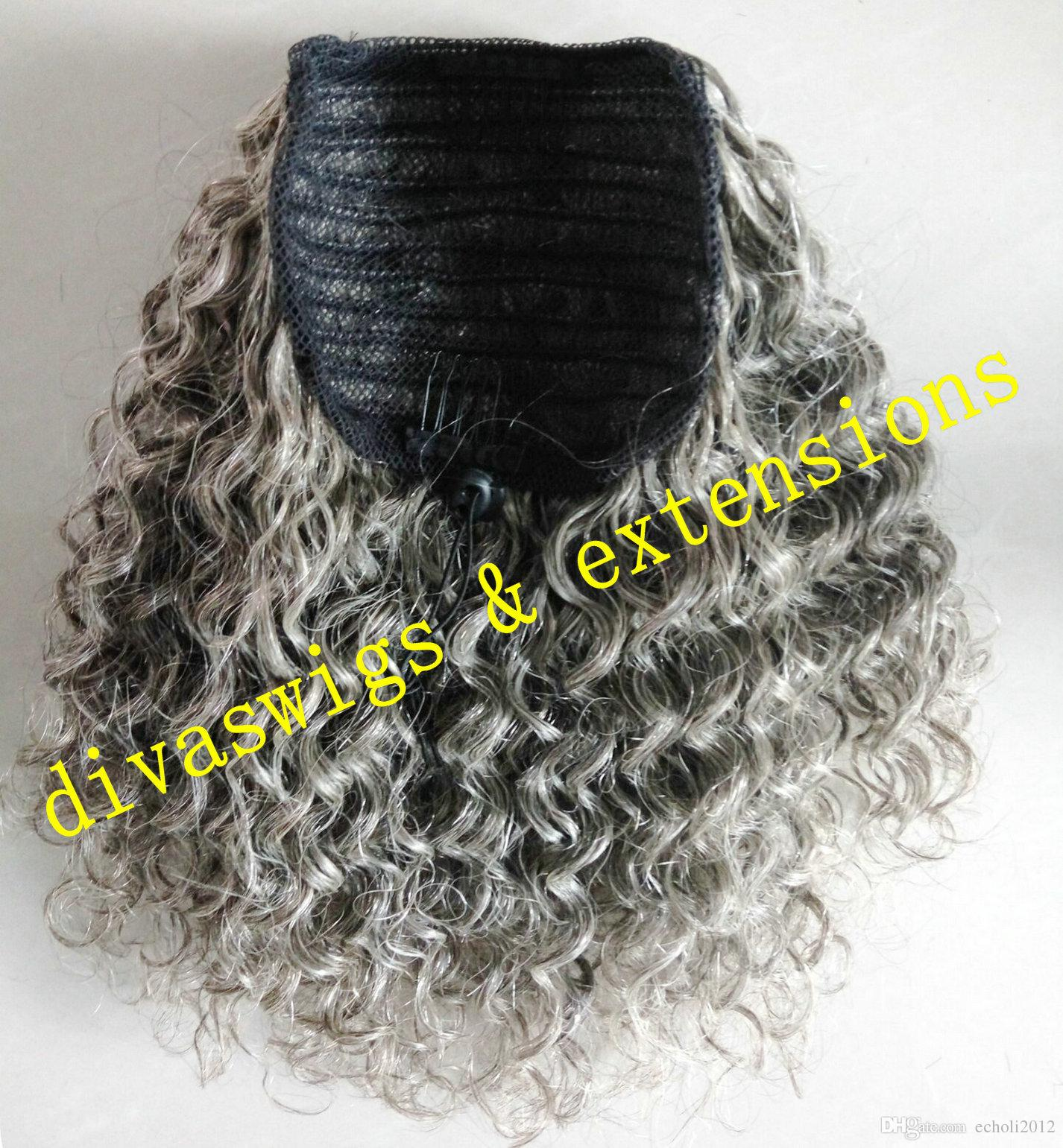 100 Real Hair Gray Puff Afro Ponytail Hair Extension Clip