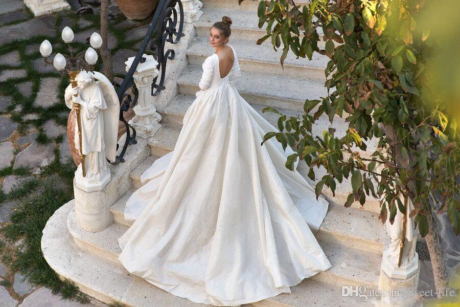 2018 Milla Nova Simple Satin Wedding Dresses 34 Long