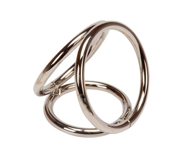 Triple Loop Metal Cock Ring Cock Cage Erection Enhancer Impotence Aid Ny022