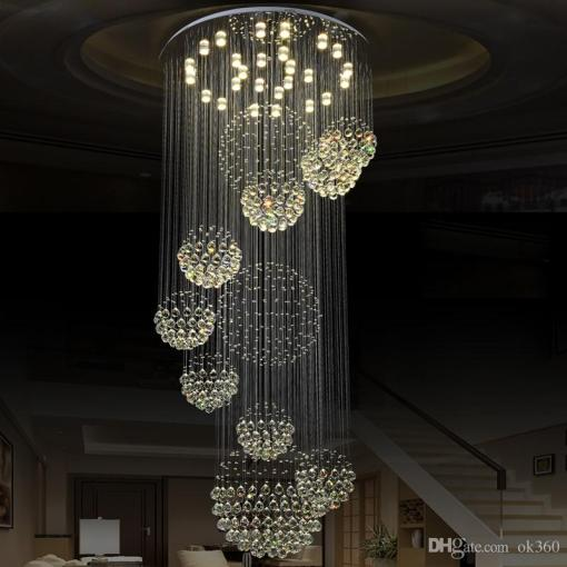 Modern Pendant Lamp Chandeliers Crystal Staircase Light Large         Modern Pendant Lamp Chandeliers Crystal Staircase Light Large Crystal  Light Crystal Ceiling Light Staircase Stairs Foyer