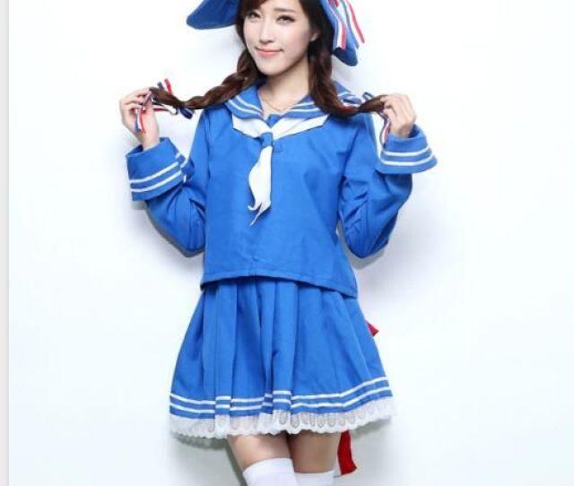 Sexy Adult Women Halloween Japanese School Girls Costume Teen Hot Blue Sailor Cosplay Fancy Pleated Skirt