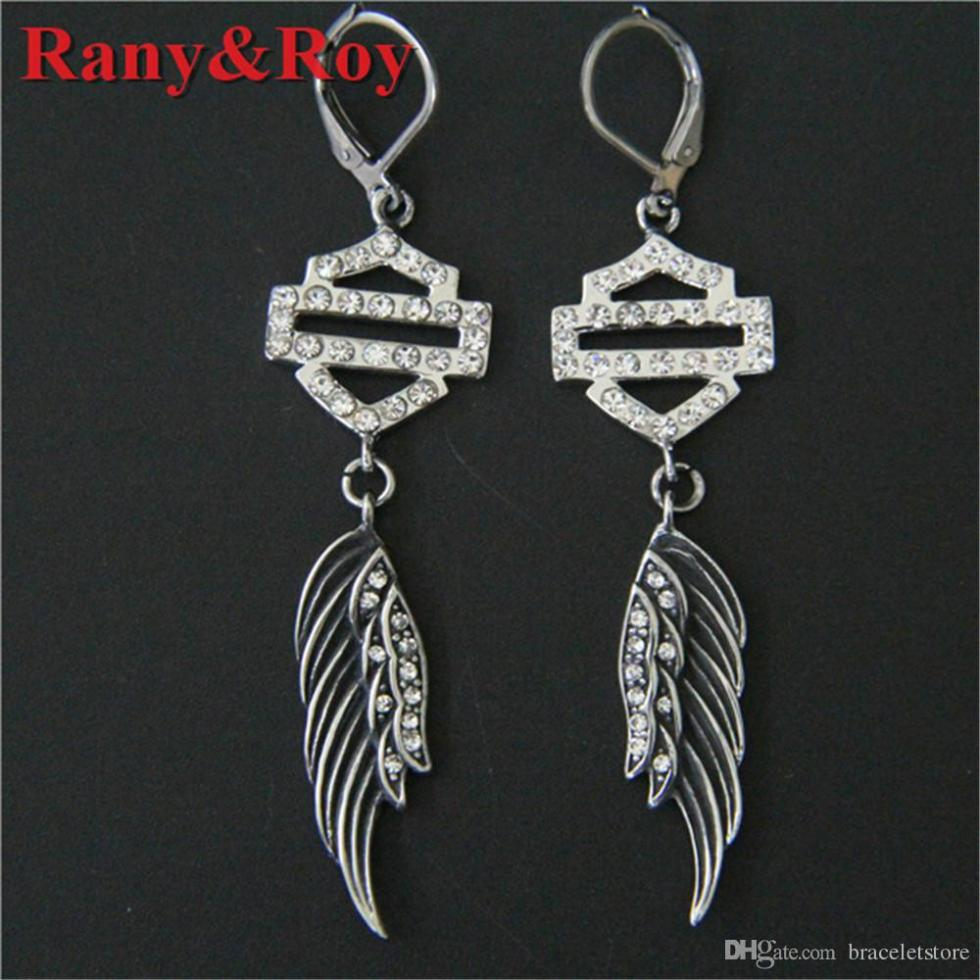 newest angle wings crystal biker earrings 316L stainless steel fashion jewelry ladies popular motorbiker earrings