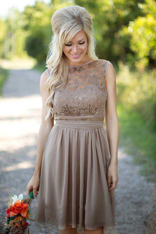Brown Chiffon Short Country Bridesmaid Dresses Sheer Lace