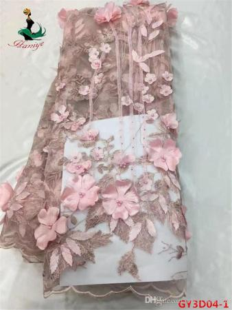 2018 Top End Lace Fabric 3d Flowers French Lace Fabric With Applique         Top end lace fabric 3d flowers french lace fabric with applique 5 yards  tulle mesh lace