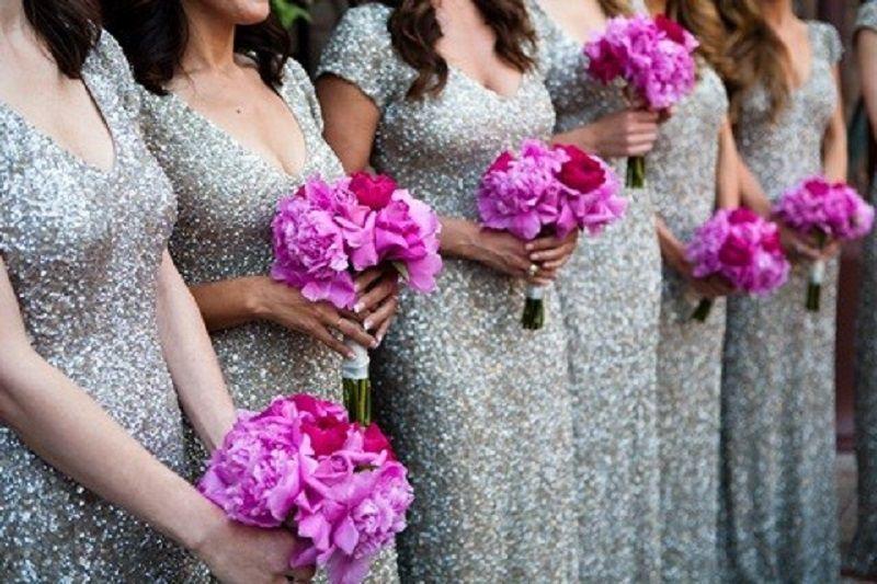 Modest 2018 Sheath Silver Sequins Bridesmaid Dresses Cheap
