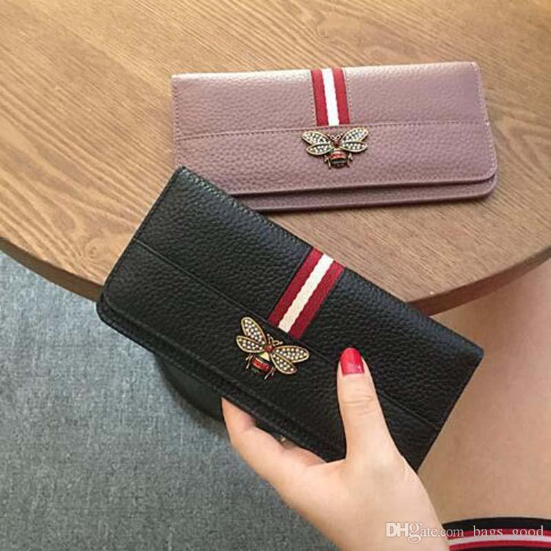New Women Genuine Leather Bee Wallet Female Cow Leather