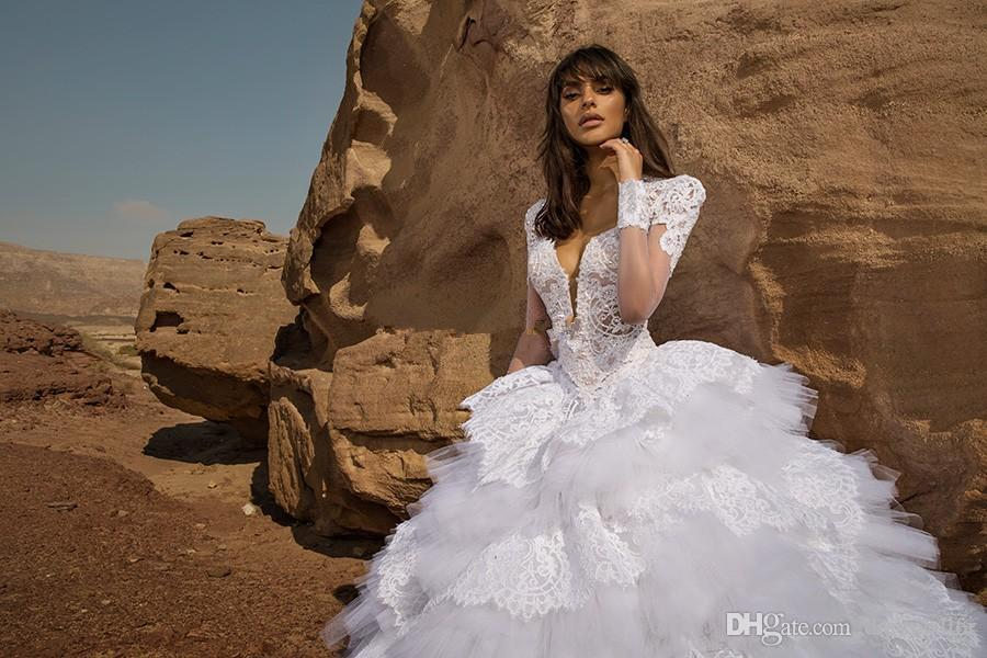 Lace Pnina Tornai Ball Gown Wedding Dresses Short Sleeves