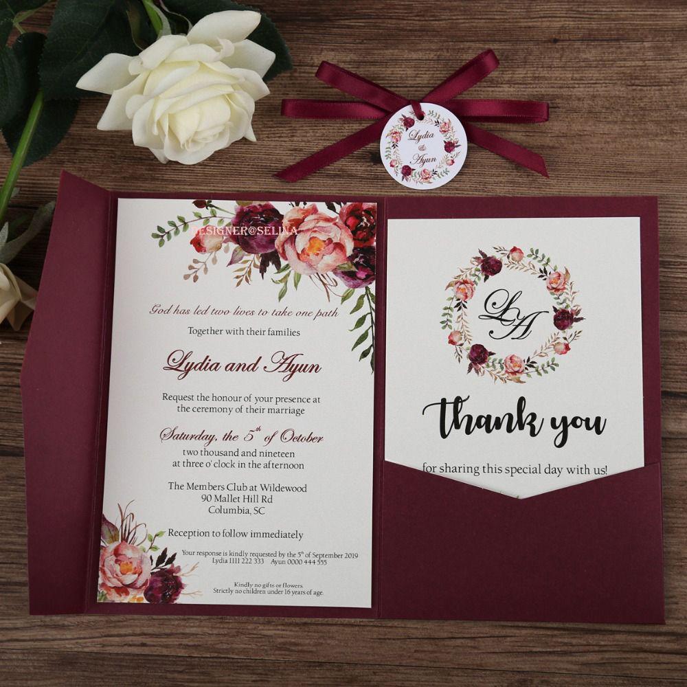 acheter bourgogne impression de fleur dinvitation de mariage avec la carte de rsvp et ruban et rond tag impression personnalisee anniversaire bonbon
