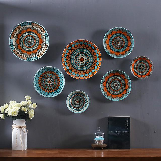acheter ensemble de 7 assiettes en ceramique suspension murale suspension decorative en ceramique aux couleurs exquises decoration decorative en