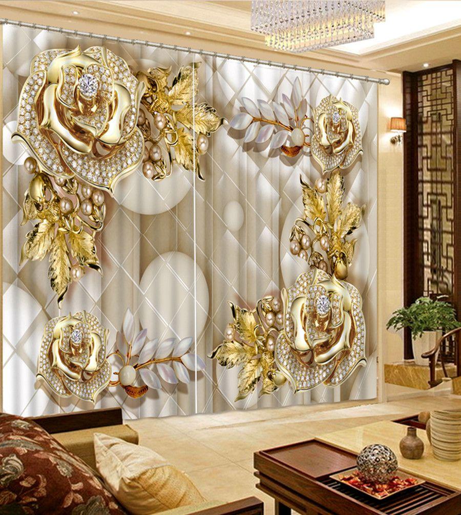 acheter rideaux pour fenetre epais fleurs bijoux de luxe ombrage 3d rideau parlor chambre chambre blackout rideaux 3d de 65 56 du lcwallpapers