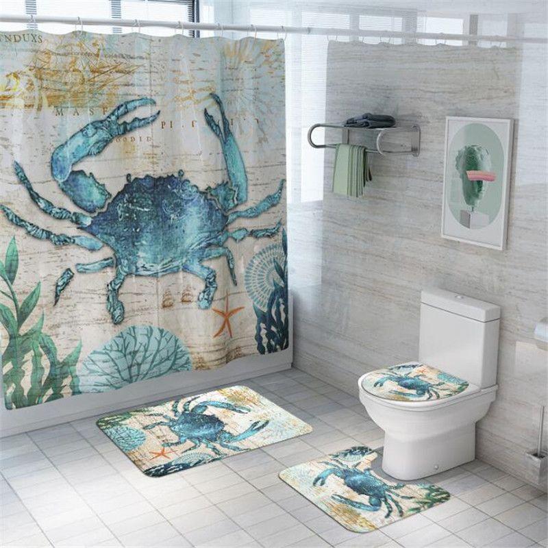 2021 ocean theme bathroom set non slip