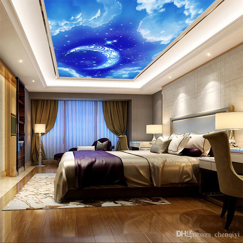Factory Price Dream Blue Sky 3d Wallpaper With Moon And Stars White Cloud Natural Mural To Decorate House Top Bedroom Walls From Chenqiyi 9 05 Dhgate Com