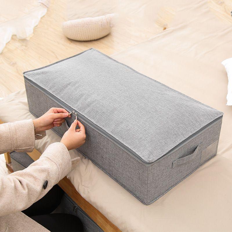 acheter boite de rangement sous lit en lin lavable pliable pour la literie sous matelas couvre matelas sac de rangement pour vetements gris de 16 42