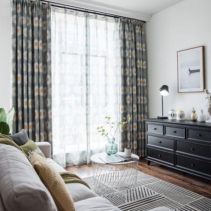acheter rideau occultant de tournesol dimpression de panne delectricite pour le salon salle a manger floral sheer balcon rideau fini pour la cuisine