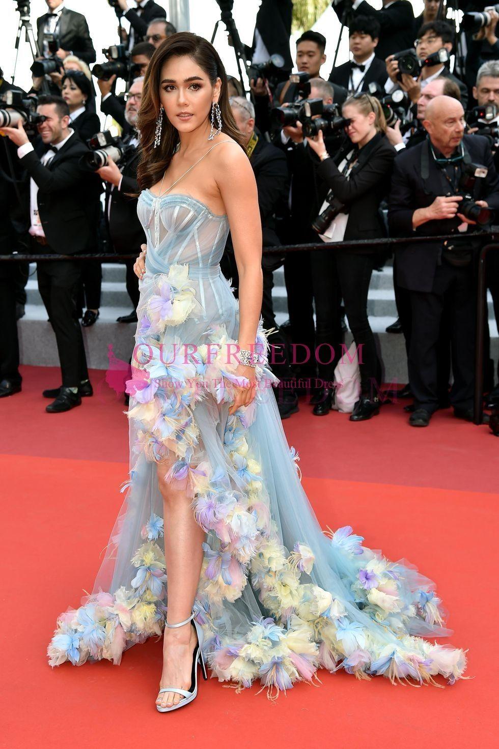 acheter festival du film de cannes 2019 araya hargate robes de celebrites col cherie sexy cote split 3d flore appliques formelles robes tapis rouge de