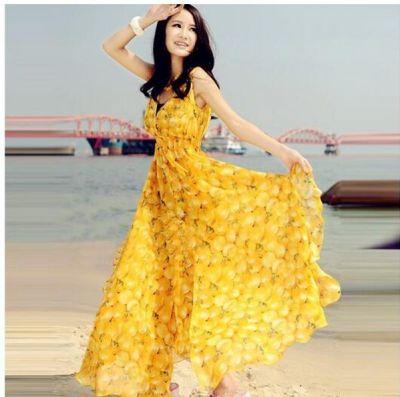 V neck Fresh Mango Print Dress Beach Long Dress Maxi Dress Chiffon Yellow Dress Elastic Waist Women Dress Bohemian