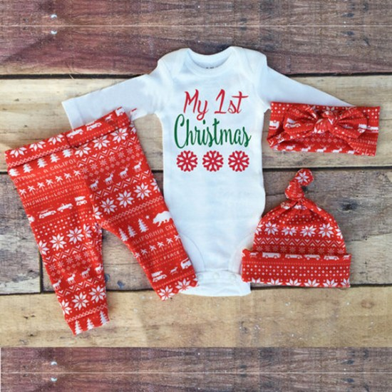 fa128d538a INS baby fashion red deer outfits autumn 2016 new children rompers+ long  pants+hat +head band 4 piece sets children set kids sleepsuits