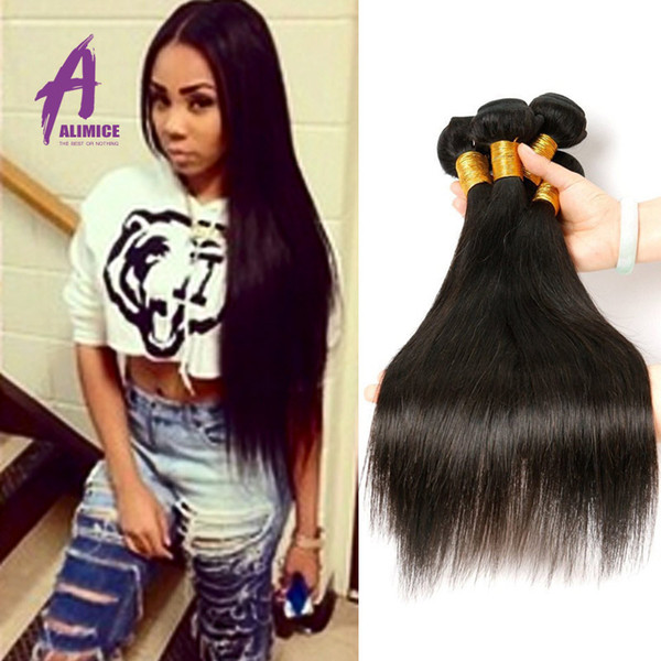 3 Bundles Of Virgin Brazilian Hair Wholesell Brazilian Straight Hair Products Cheap Human Hair Extension NaturalBlack
