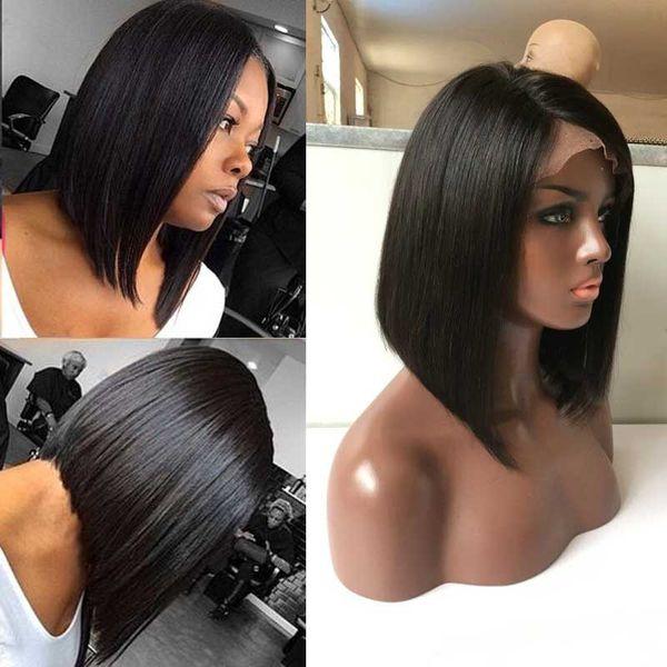 Full Lace Bob Cut Wigs For Black Women Glueless Virgin Human Hair Lace Front Wigs Baby Hair Human Hair Wigs