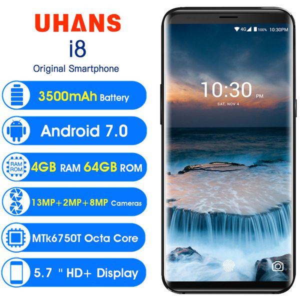 Wholesale Dual Back Camera 4G Smartphone 5.7 Inch 18:9 Android 7.0 Octa Core 4GB RAM 64GB ROM 3500mAh UHANS I8