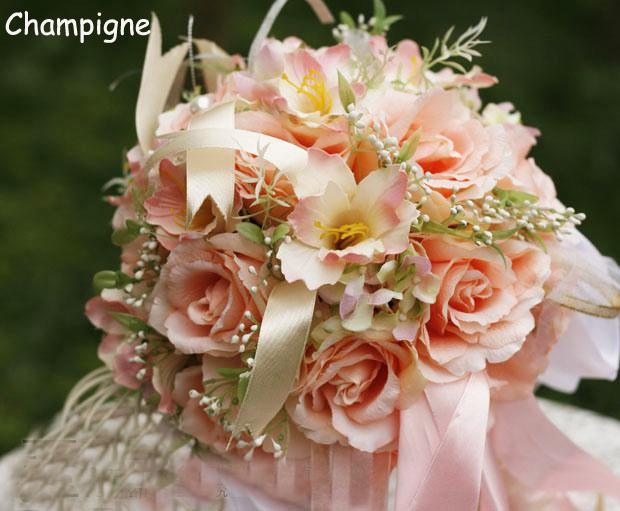 Pink Artificial Flowers Wedding Bouquet Top Quolity Bridal