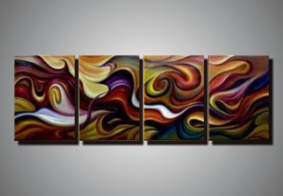 2019 100% Hand Painted Unstretched 4 Panels Abstract