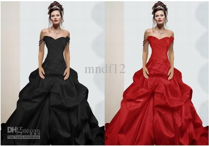 Red Black Wedding Dress Satin Evening Dress A Line